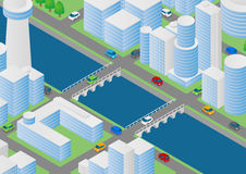 Illustration of buildings, bridges and vehicles Stock Images