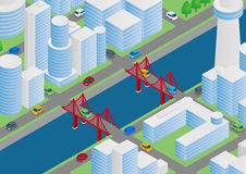 Illustration of buildings, bridges and vehicles Stock Photography