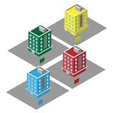 Isometric vector 3D colorful apartments, condominium for sales real estate stock illustration