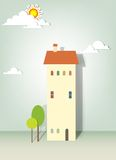 Illustration of buildings, trees, clouds and sun Stock Photos