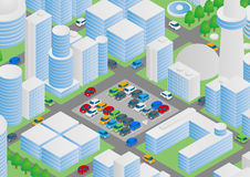 Illustration of buildings, vehicles and parking Stock Photos