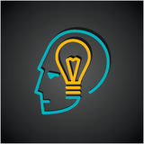 Illustration of bulb in human head Stock Image