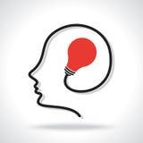 Illustration of bulb in human head Stock Photos
