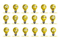 Bulb lamp avatar icon set Royalty Free Stock Images