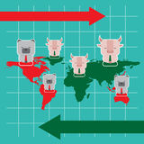 Illustration of bull and bear symbol of stock market trend. Stock Photography