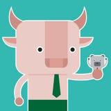 Illustration of bull and bear symbol of stock market trend. Stock Photo