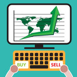 Illustration of bull symbol of stock market trend. Royalty Free Stock Photography