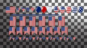 Illustration bunch of  flag and balloons . Party decorations fo. R Wedding, anniversary, celebration, event design, 4th july independence day Stock Photography