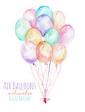Illustration with a bundle of watercolor air balloons. Hand drawn isolated on a white background Royalty Free Stock Photos