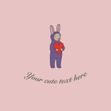 Illustration of bunny with heart. Illustration of cute bunny with heart Stock Image
