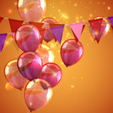 illustration of bunting flags, flying balloons and sparkles Stock Photography