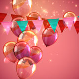 Illustration of bunting flags, flying balloons and sparkles Royalty Free Stock Photo