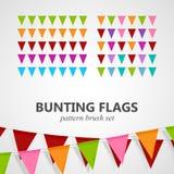 Illustration of bunting flags pattern brush set. Vector festive illustration of bunting flags pattern brush set. decorative elements for design Stock Image