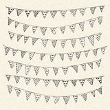 Illustration of bunting on a sheet of lined paper