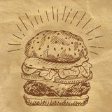Illustration of burger on craft paper. Royalty Free Stock Photo