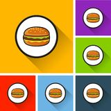 Burger icons with long shadow Stock Image