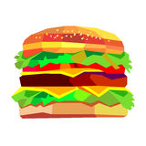 Illustration of a burger, vector drawing burger cheeseburger san. Illustration of a burger, vector drawing burger cheeseburger Stock Photo