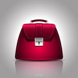 Illustration of a burgundy women female handbag Stock Photo
