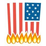 Illustration of burning american flag Stock Photos