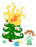 Illustration: burning christmas tree Royalty Free Stock Photography