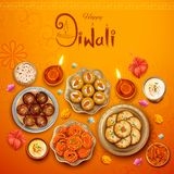 Burning diya with assorted sweet and snack on Happy Diwali Holiday background for light festival of India. Illustration of burning diya with assorted sweet and vector illustration