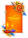 Burning diya and firecracker on Happy Diwali Holiday background for light festival of India. Illustration of burning diya and firecracker on Happy Diwali Holiday vector illustration