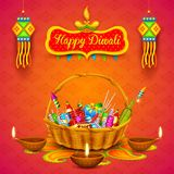 Burning diya and firecracker on Happy Diwali Holiday background for light festival of India Royalty Free Stock Image