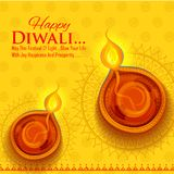 Burning diya on Happy Diwali Holiday background for light festival of India. Illustration of burning diya on Happy Diwali Holiday background for light festival Stock Photography