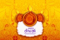 Burning diya on Happy Diwali Holiday background for light festival of India royalty free illustration