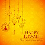Burning diya on Happy Diwali Holiday background for light festival of India Royalty Free Stock Photo
