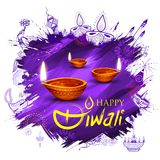 Burning diya on Happy Diwali Holiday background for light festival of India. Illustration of burning diya on Happy Diwali Holiday background for light festival Stock Photos