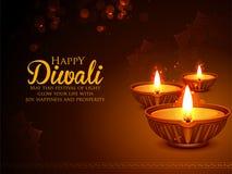 Burning diya on happy Diwali Holiday background for light festival of India. Illustration of burning diya on happy Diwali Holiday background for light festival vector illustration
