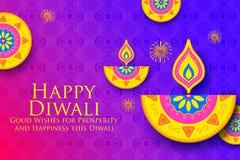 Burning diya on Happy Diwali Holiday background for light festival of India. Illustration of burning diya on Happy Diwali Holiday background for light festival stock illustration