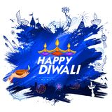 Burning diya on Happy Diwali Holiday background for light festival of India. Illustration of burning diya on Happy Diwali Holiday background for light festival Royalty Free Stock Images