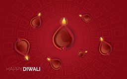 Illustration of burning diya on Happy Diwali Holiday background vector illustration