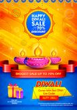 Burning diya on Happy Diwali Holiday Sale promotion advertisement background for light festival of India. Illustration of burning diya on Happy Diwali Holiday vector illustration