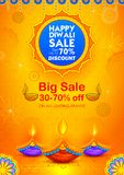 Burning diya on Happy Diwali Holiday Sale promotion advertisement background for light festival of India. Illustration of burning diya on Happy Diwali Holiday