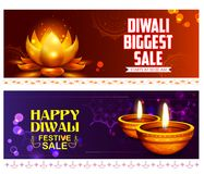 Burning diya on happy Diwali Holiday Sale promotion advertisement background for light festival of India Royalty Free Stock Images