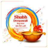 Burning diya on Shubh Deepawali meaning Happy Diwali Holiday Sale promotion. Illustration of burning diya on Shubh Deepawali meaning Happy Diwali Holiday Sale royalty free illustration