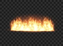 Illustration of burning fire flame on black background. Vector illustration Stock Photography