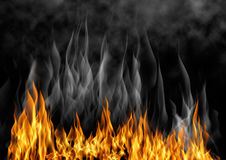 Illustration of burning fire. Flame with smoke over black background Stock Photo