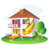 Illustration with burning house for companies insuring the property Stock Image