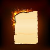 Burning Piece of Vintage Paper Royalty Free Stock Images