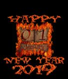 Burning wooden calendar January 1, 2019, new year royalty free stock photo