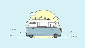 Illustration of a bus with cloud and sun. Vector of a bus. royalty free illustration