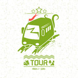 Illustration bus travel. In a flat style. Green color on a white background with texture Stock Image