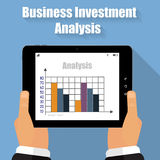 Illustration Business Analysis tablet in his hands Royalty Free Stock Images