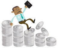 Business Buddy falls down the money hill. Illustration of Business Buddy falling down a money shaped bar chart Stock Images