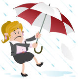Businesswoman Buddy blown away with Umbrella Stock Photo