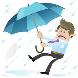 Business Buddy blown away with Umbrella Royalty Free Stock Image